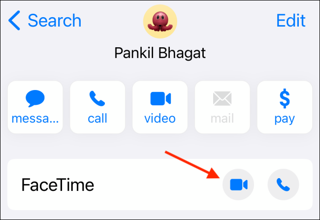 Tap Video Button from Contacts