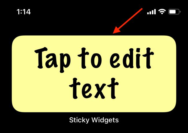 Tap on the Sticky Widget