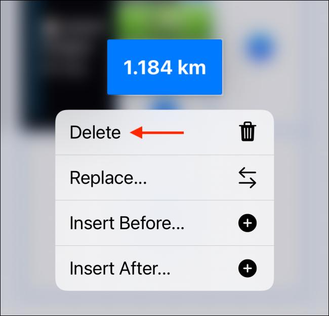 Tap the Delete option to Delete a Block