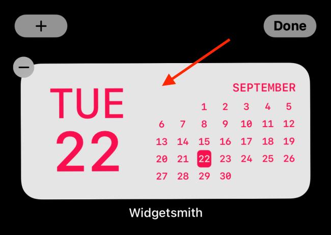 Toque el widget después de agregarlo