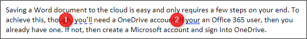 Underlined text in Word