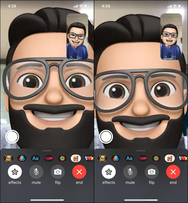 Using FaceTime with Memoji Full Screen View