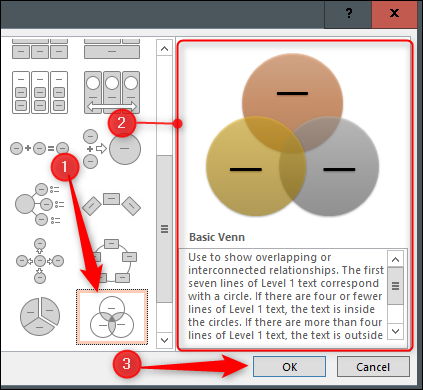 Venn diagram from SmartArt options