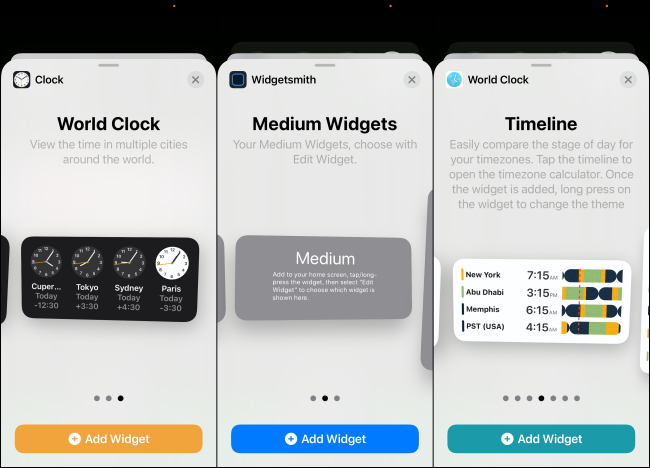 "Medium-size widget previews in ""World Clock,"" ""Widgetsmith,"" and ""World Clock."""