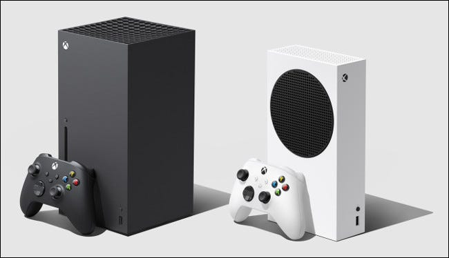 An Xbox Series X sitting next to an S.