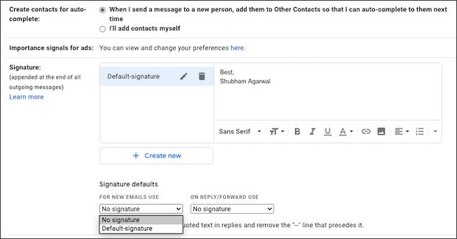 Escriba su firma de correo electrónico en Gmail.