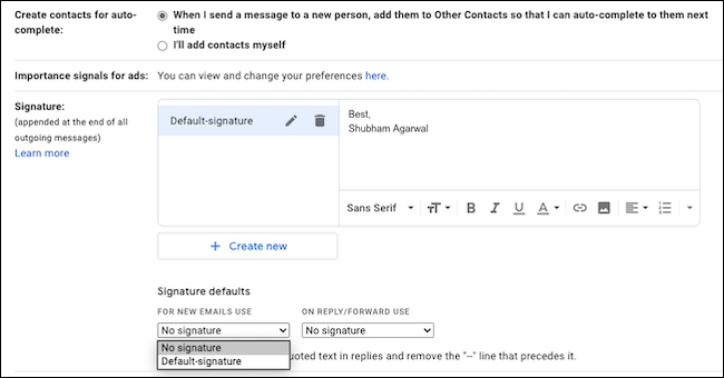 Type your email signature in Gmail.