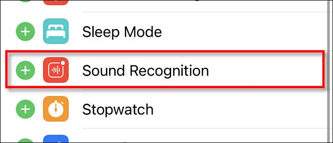 "Tap ""Sound Recognition"" in Control Center settings"