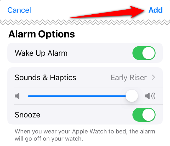 """Adjust the """"Alarm Options,"""" and then tap """"Add."""""""