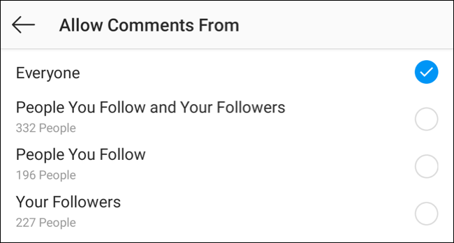 "Visit the ""allow comments from"" settings on Instagram app"