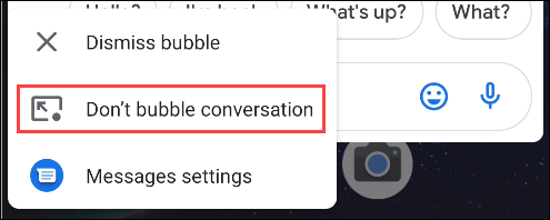 seleccione no hacer burbujas en la conversación