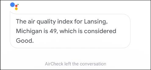 google assistant aircheck action