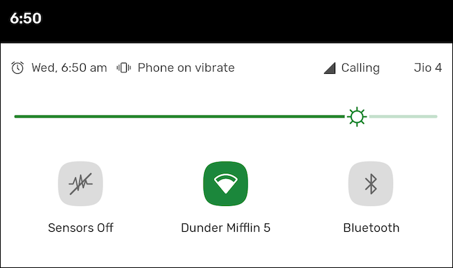 Sensors Off quick settings tile on Android