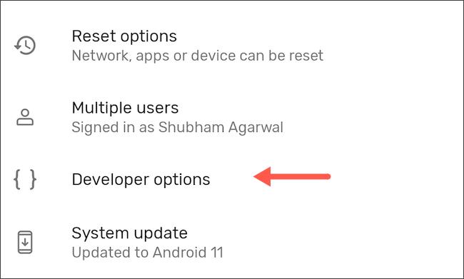 Enter developer options on Android