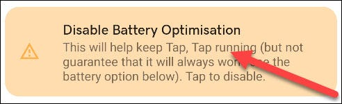 disable battery optimizations banner