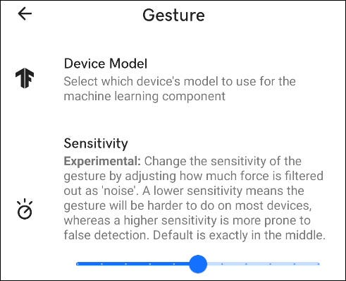 gesture settings