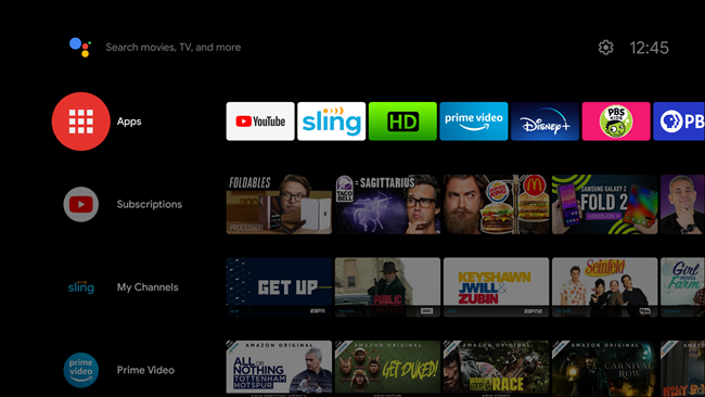 The Home screen on an Android smart TV.