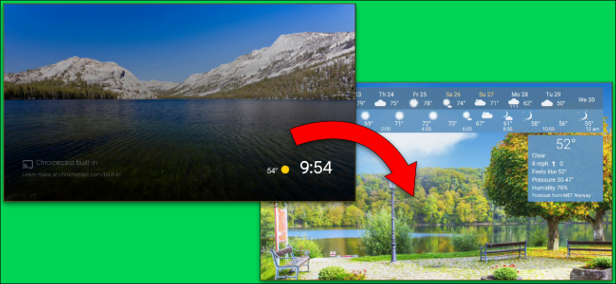 An Android TV screen saver of a park being switched out for the default mountain landscape.