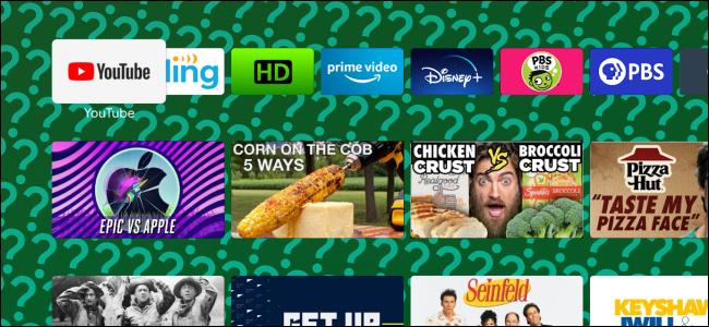Uma tela inicial do Android TV com um papel de parede com um ponto de interrogação verde irritante.