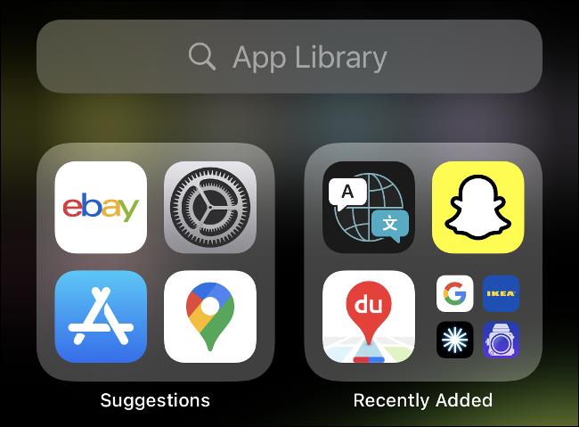 """iOS 14 """"Biblioteca de aplicaciones""""."""