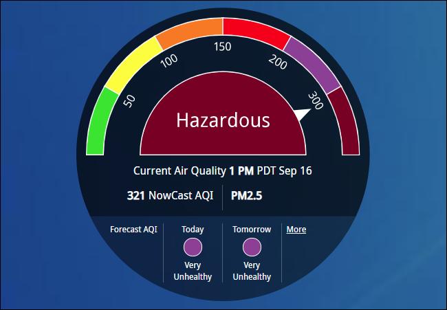 "AirNow showing ""Hazardous"" air quality."