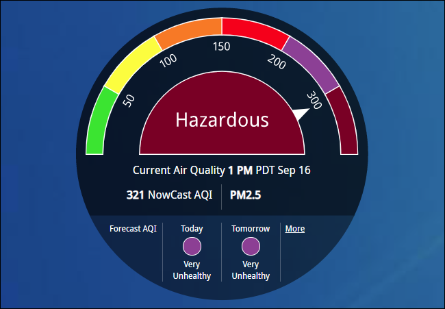 "AirNow showing ""Hazardous"" air quality."