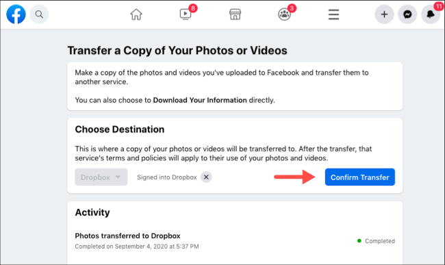 Confirmar la transferencia de fotos y videos de Facebook