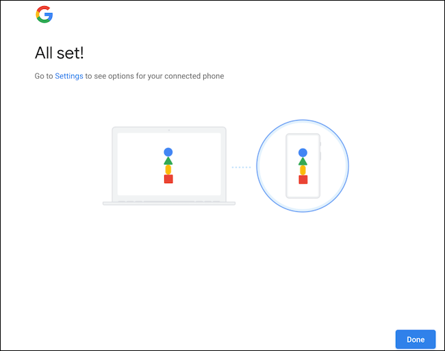 Confirm Android phone and Chromebook sync