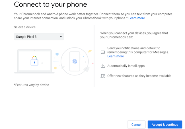 Select Android phone to connect on Chromebook