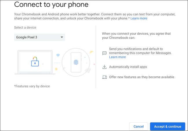 Seleccione el teléfono Android para conectarse a Chromebook