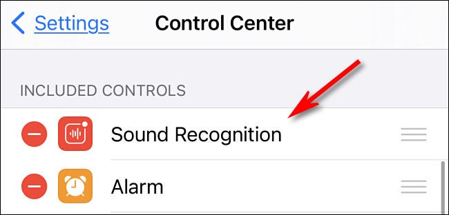 Sound Recognition at the top of the Control Center list