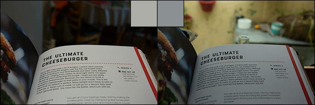 Two images of the same page from a book, before and after correcting the white balance.