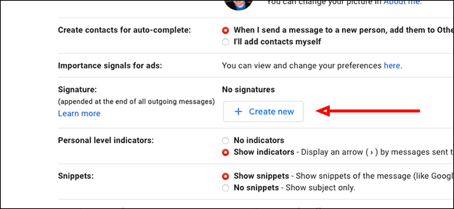 """Click """"Create new"""" to the right of Signature"""