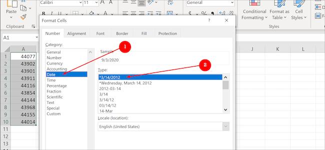 Excel data format