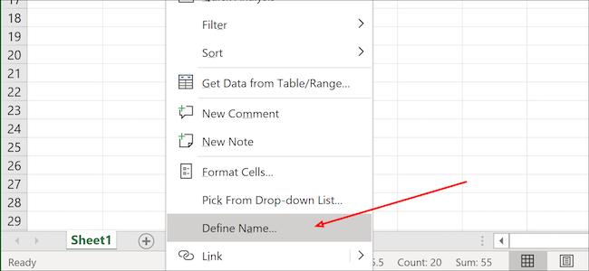 Excel define name