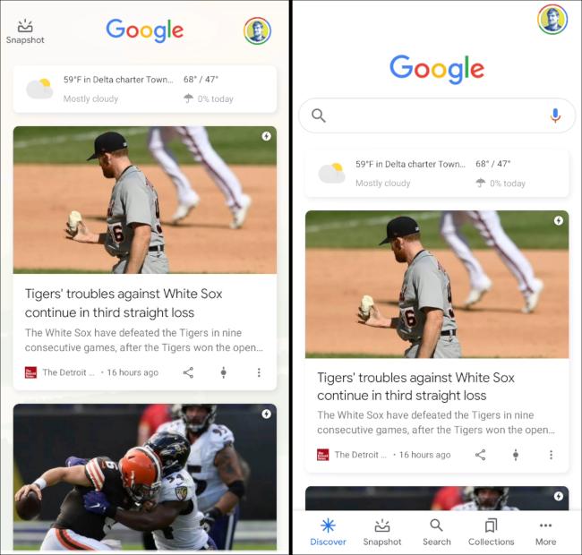 google discover UI
