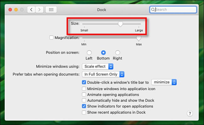 "In Dock Preferences on Mac, use the ""Size"" slider to change the size of the Dock."