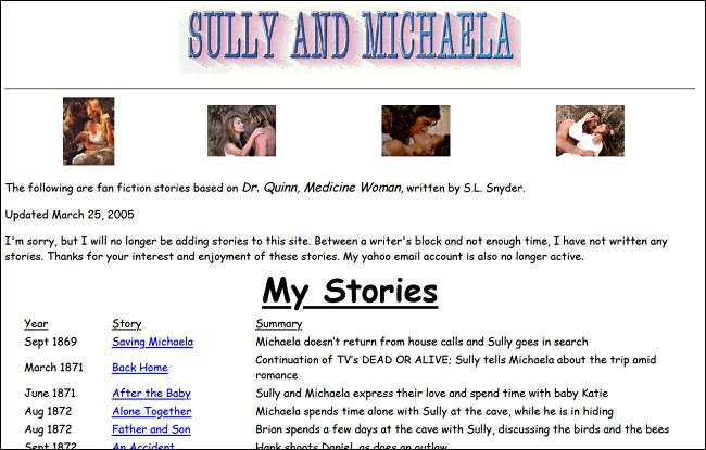 """Un sitio web de ficción de fans """"Dr. Quinn, Medicine Woman"""" en GeoCities."""