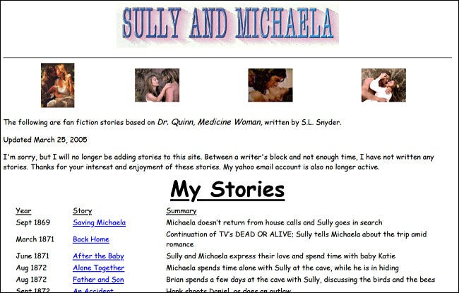 "A ""Dr. Quinn, Medicine Woman"" fan fiction website on GeoCities."