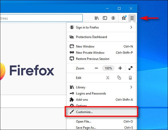 """Click the hamburger menu in Firefox, and then click """"Customize."""""""