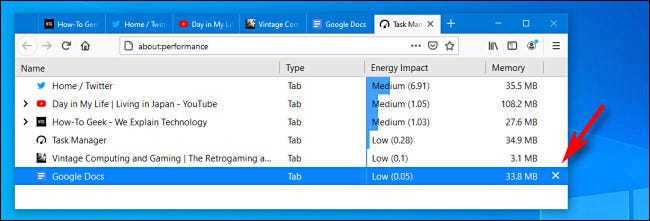 "To close a tab Firefox Task Manager, click the ""X"" button."