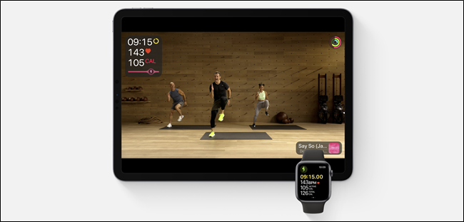 Fitness+ running on an iPad and Apple Watch