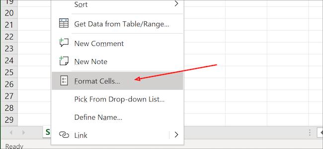Excel format cells