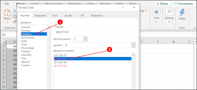 Excel format currency