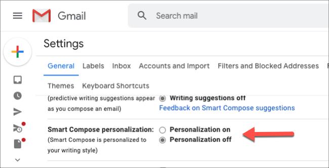 """Seleccione el botón de opción junto a """"Personalización activada""""."""