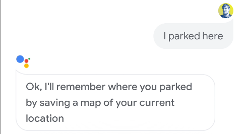 Google Assistant confirming it will remember where a parking spot is on Android.