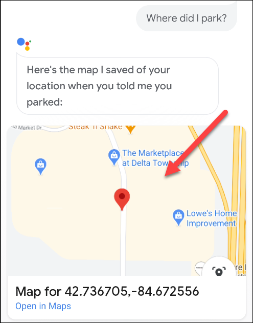 A map showing where a car is parked in Google Assistant.