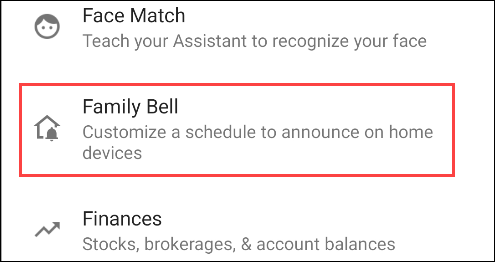 family bell from assistant settings