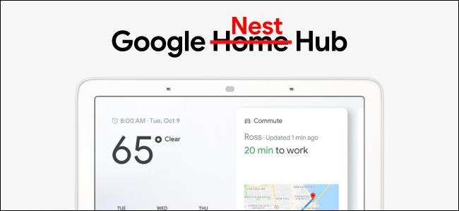 "An ad for Google Home Hub, with the word ""Home"" crossed out, and the word ""Nest"" replacing it."