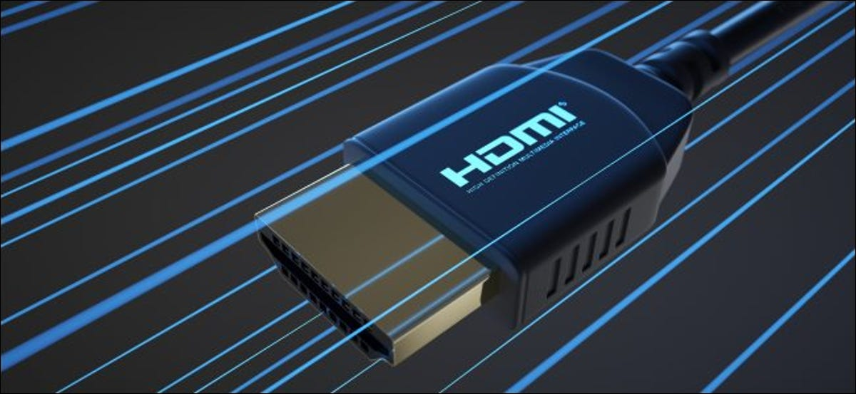 An HDMI connector with blue lines indicating speed.